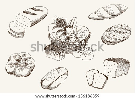 bakery products. set of vector sketches - stock vector