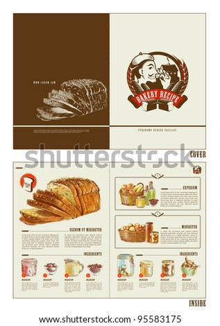 Bakery Recipe Booklet Design Template - stock vector
