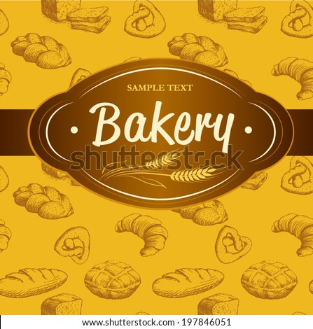 Bakery. seamless background pattern with loaf, baguette, baked goods, croissant, bagel. labels - stock vector