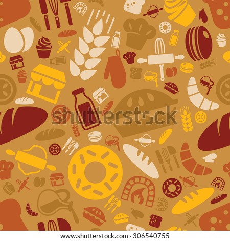 bakery seamless pattern - stock vector