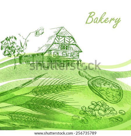 Bakery set. Hand drawn farm house, wheat, grain with watercolor background - stock vector