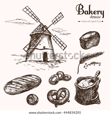 Bakery shop collection. Different types of bread. Vector isolated hand drawn illustrations. Windmill - stock vector