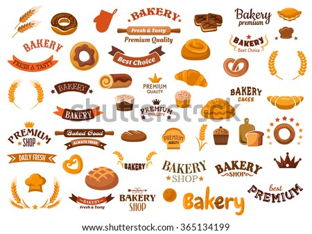 Bakery shop design elements with cupcakes, rye and wheat bread, buns, rolls, donut, croissant, pies, pretzel, cookies and decorative cereal ears, ribbon banners, baker hats, crowns, stars and headers