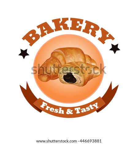 Bakery Shop Label Design. Fresh and Tasty Desserts. Croissant , Ribbons and Stars. Vector Illustration.