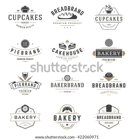 Bakery Shop Logos Templates Set. Vector object and Icons for Pastries Labels, Bread Badges, Emblems Graphics.  - stock vector