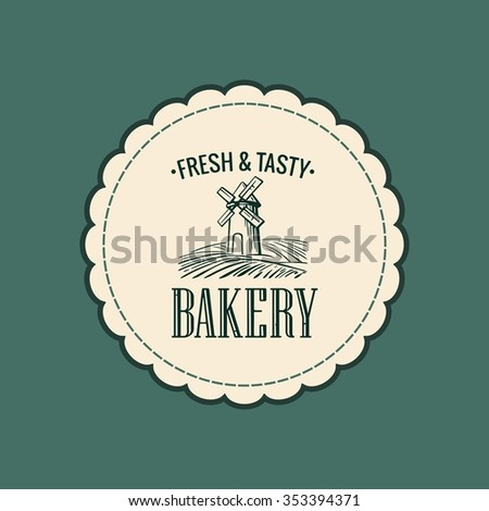 Bakery sketch. Mill, wheat field, ears, rolls, pastries, bread, baguette, rolling pin. Vintage hand drawn vector engraving illustration for logotype, label, poster, brochures. - stock vector