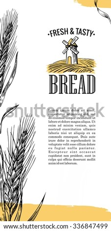 Bakery sketch. Mill, Wheat field, Ears. Vintage hand drawn vector engraving illustration for logotype, label, poster, corporate identity, business cards, brochures, presentations, flayer. - stock vector