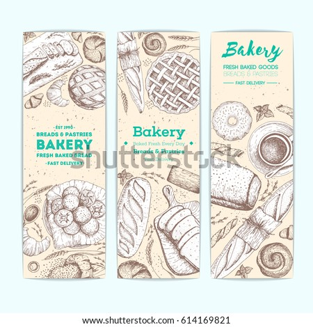Bakery Vector Ilration Vertical Banner Set Hand Drawn Sketch With Bread Pastry