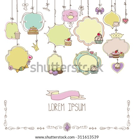 Bakery Vintage Badges,Labels,logo for sweet shop,coffee  hanging on ropes.Hand sketched Retro Colored doodles  shapes.Design elements,cake icons,frames template .Vector - stock vector