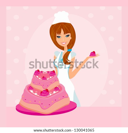 Baking a cake.Illustration of lady baker making a cake - stock vector