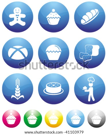 baking blue button icons