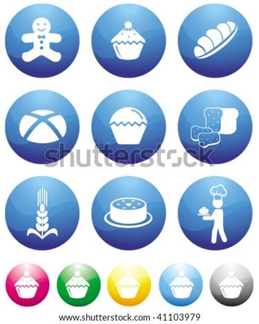 baking blue button icons - stock vector