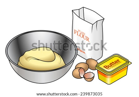 Baking concept: a stainless steel bowl with a mound of dough, eggs, butter and flour. - stock vector