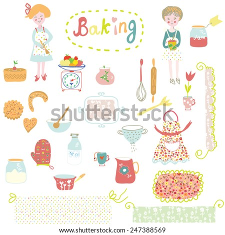 Baking design elements - cute and funny illustration - stock vector