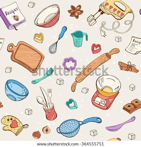Baking doodle background. Vector seamless pattern with kitchen tools. Hand drawn baking utensils. - stock vector