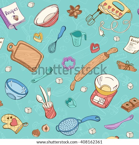 nautical kitchen utensils baking doodle background vector seamless pattern stock vector