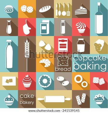 Baking flat set. vector - stock vector
