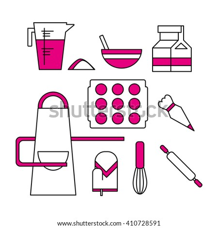 Baking icons and elements. Kitchen utensils.  - stock vector
