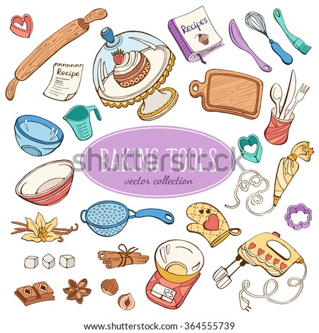 Baking items collection in doodle style. Hand drawn kitchen tools set in pastel colors.  - stock vector