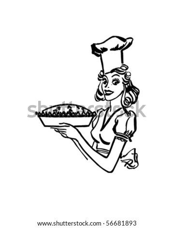 Baking Queen - Retro Clip Art - stock vector