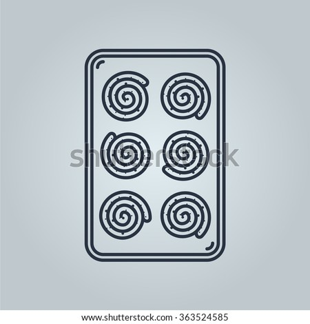 baking sheet with roll buns vector icon. Icon is ready for print in any size. Made as gliphicon for web using