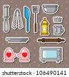 baking tools stickers - stock vector