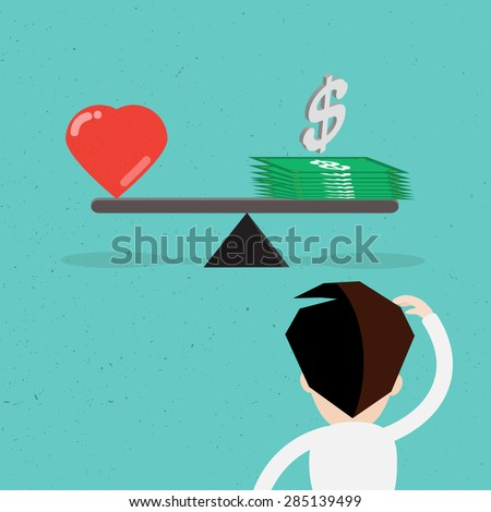 Balance between heart and money vector design. - stock vector