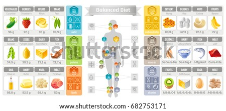 Balance diet infographic diagram poster water stock vector royalty balance diet infographic diagram poster water protein lipid carbohydrate mineral vitamin flat icon set ccuart Image collections