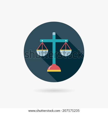 Balance Flat style Icon with long shadows - stock vector