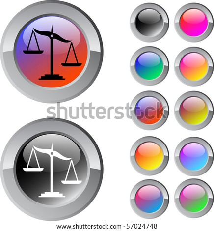 Balance multicolor glossy round web buttons. - stock vector