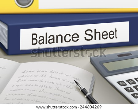 balance sheet binders isolated on the office table - stock vector