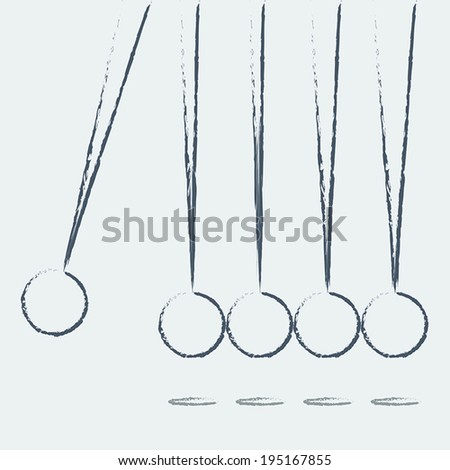 Balancing balls Newton's cradle on a white background. Vector