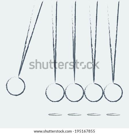 Balancing balls Newton's cradle on a white background. Vector - stock vector