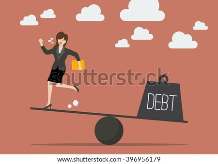 Balancing between business woman and debt. Business concept