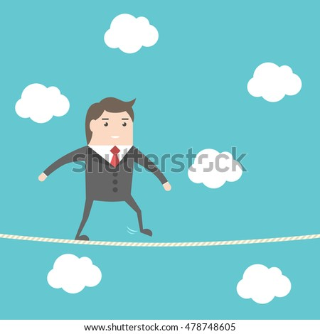 Balancing businessman walking on rope high in sky. Blue background with clouds. Risk, challenge and courage concept. Flat design. EPS 8 vector illustration, no transparency
