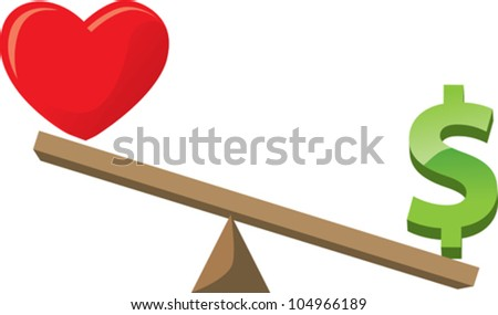 Balancing love or health with money/career - stock vector