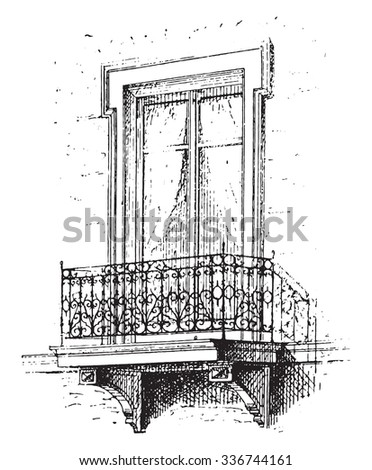 Etched window stock photos royalty free images for Balcony cartoon
