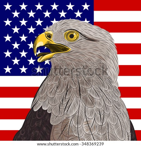 bald eagle against the United States of America's flag. EPS