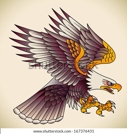 Bald eagle attacking. Old-school tattoo design. Editable vector illustration. - stock vector