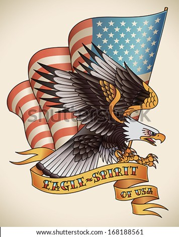 Bald eagle attacking with the flag of USA on the background. Old-school tattoo design. Editable vector illustration. - stock vector