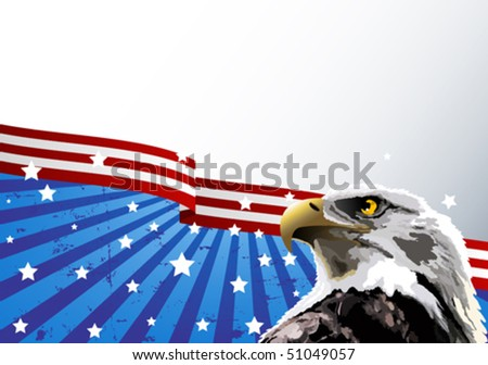 Bald eagle in front of an American flag. - stock vector
