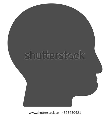 Bald Head vector icon. Style is flat symbol, gray color, rounded angles, white background.