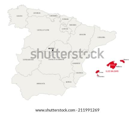 Balearic Islands map - stock vector