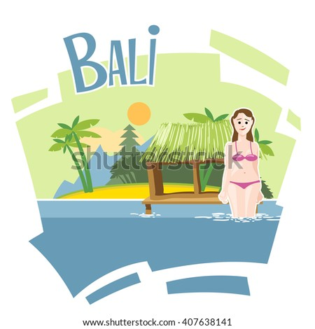 Bali flyer with a girl swimming into the sea