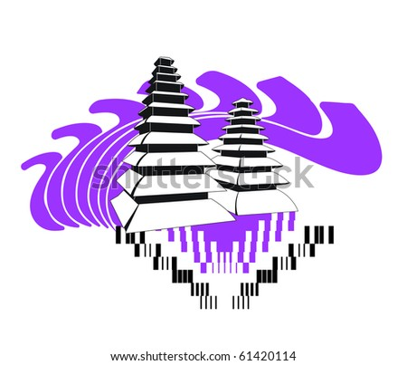 Bali temple - stock vector