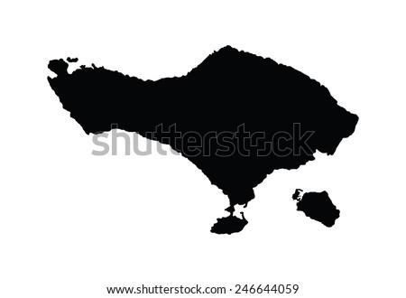 Bali vector map, isolated on white background. High detailed silhouette illustration. - stock vector