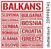 balkan countries rubber stamps - stock vector