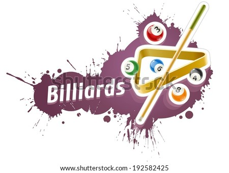 Ball and cue for playing  billiard game over grunge splash. Eps10 vector illustration. Isolated on white background - stock vector