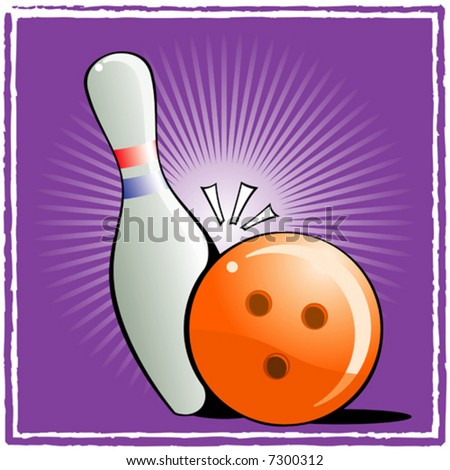 Ball and pin bowling on purple background