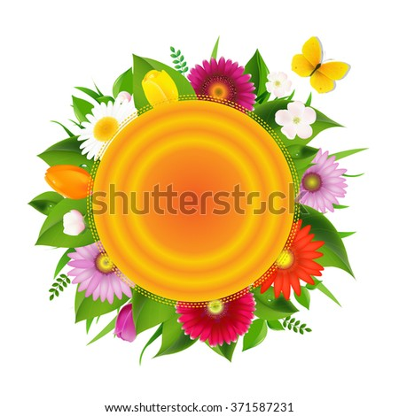 Ball Banner From Flowers With Butterfly, Vector Illustration - stock vector